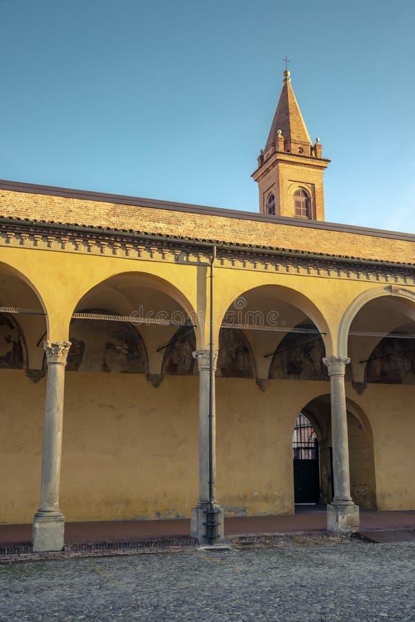 Die Nahaufnahme auf dem Detail der Architektur im Bologna, Italien lizenzfreies stockfoto