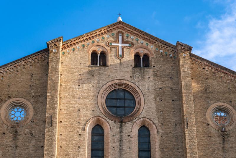 Die Nahaufnahme auf dem Detail der Architektur im Bologna, Italien stockbild