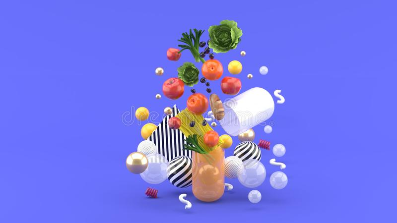 Die Nahrungsmittelflöße aus der Kapsel unter bunten Bällen auf dem purpurroten Hintergrund heraus stock abbildung