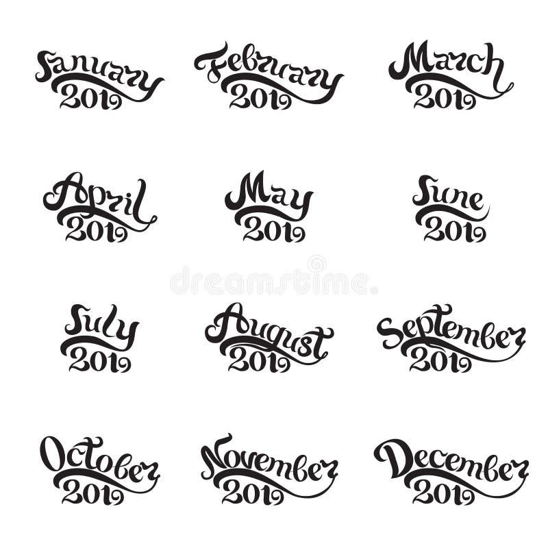 Die Namen aller Monate 2019 eigenhändig geschrieben beschriftung Schöne Buchstaben auf weißem Hintergrund Lokalisiertes Bild für stock abbildung