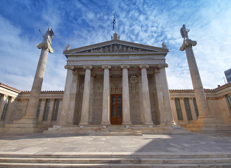 Die nationale Akademie, Athen Griechenland stockfotos