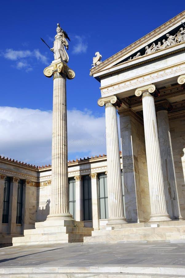 Die nationale Akademie von Athen (Athen, Griechenland) stockfotografie