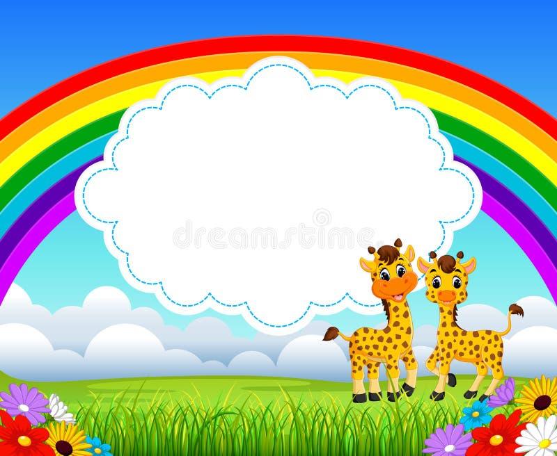 Die Naturregenbogenansicht mit der Leerstelle des Wolkenbrettes und der Giraffe zwei lizenzfreie abbildung