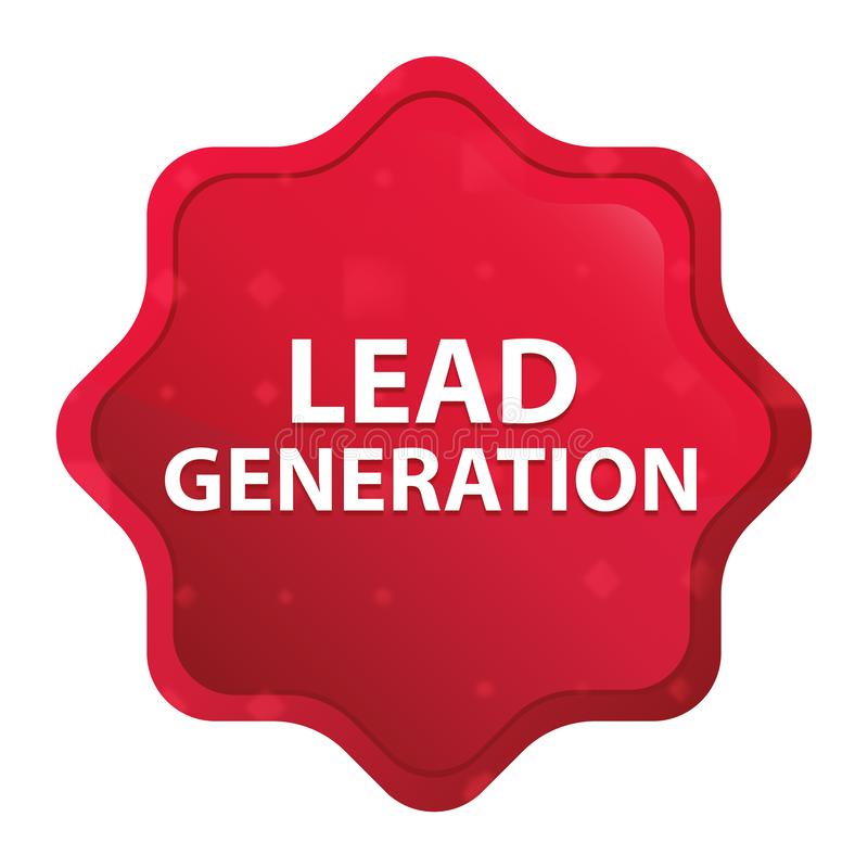 Die nebelhafte Führungs-Generation stieg roter starburst Aufkleberknopf lizenzfreie abbildung