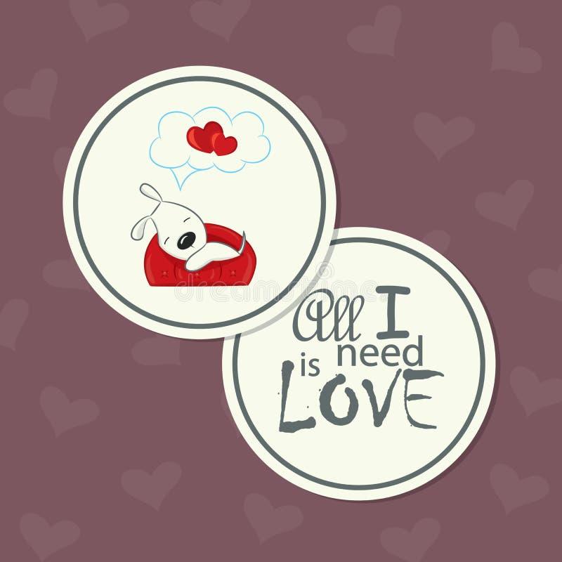 Die nette runde doppelseitige Karte für Valentinstag lizenzfreie abbildung
