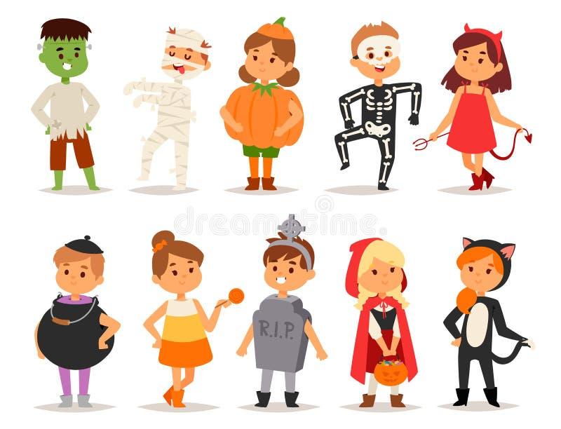 Die netten Kinder, die Halloween-Partei tragen, kostümiert Vektor vektor abbildung