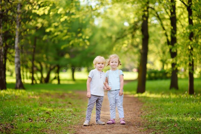 Die netten kleinen Kinder, die zusammen spielen und das Händchenhalten im sonnigen Sommer parkt stockfoto