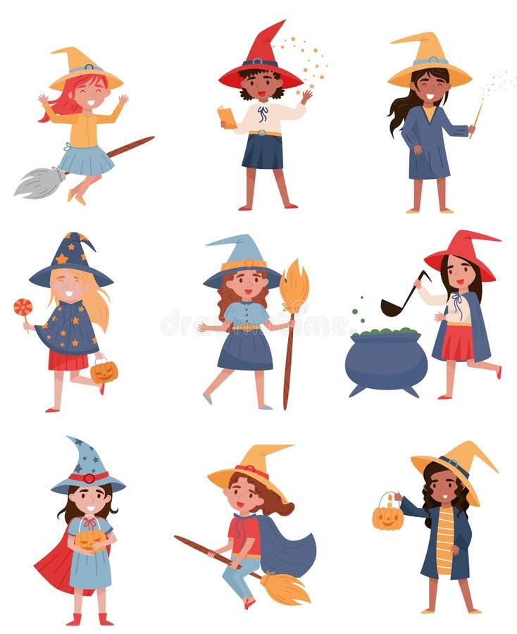 Die netten kleinen Mädchen, die als Hexen gekleidet wurden, stellten, Halloween-Parteikonzept-Vektor Illustrationen auf einem wei lizenzfreie abbildung