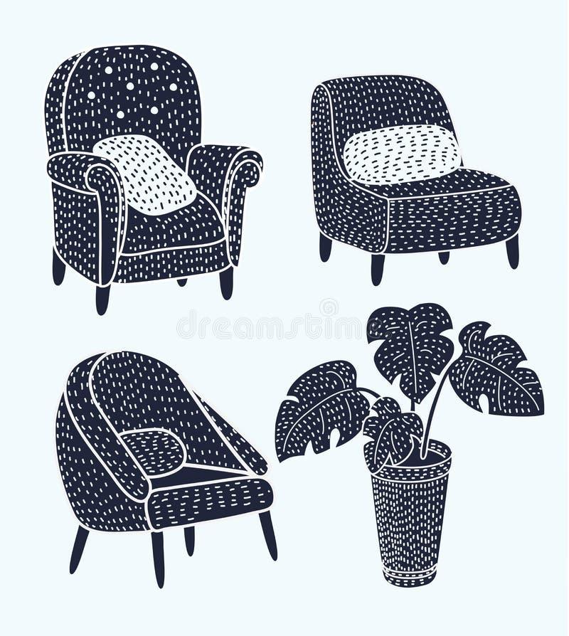 Die netten verschiedenen Katzencharaktere, die auf Lehnsesseln liegen und stillstehen, stellten von Vektor Illustrationen ein stock abbildung