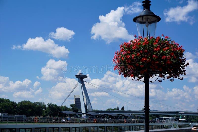 Die neue Brücke in Bratislava stockfotos