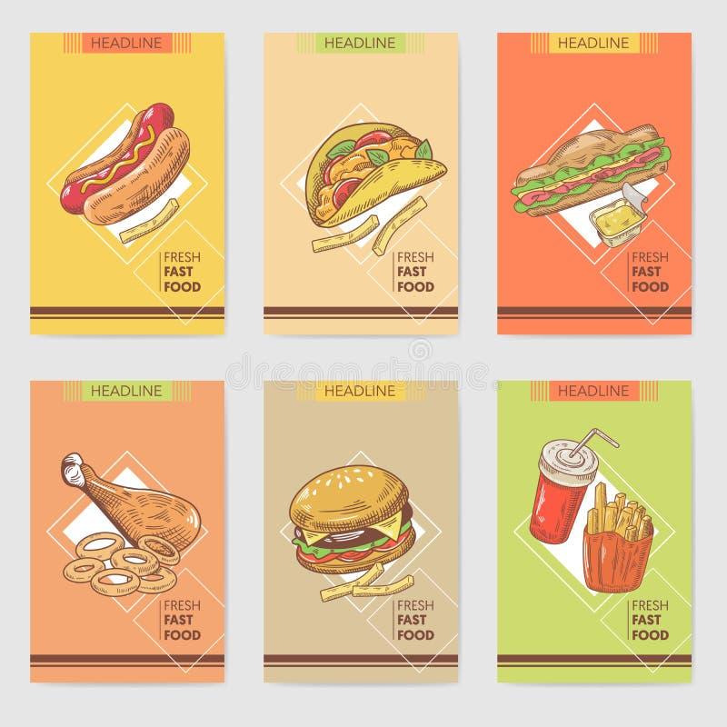 Die neue gezeichnete Schnellimbiss-Hand kardiert Broschüren-Menü mit Burger, Sandwich und Hotdog Nahrung und Getränk stock abbildung