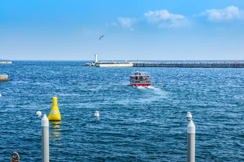 Die nicht identifizierten Touristen, die in Richtung zur hohen See auf Motorboot in Sagami nachschicken, bellen, Präfektur Shizuo stockfotos