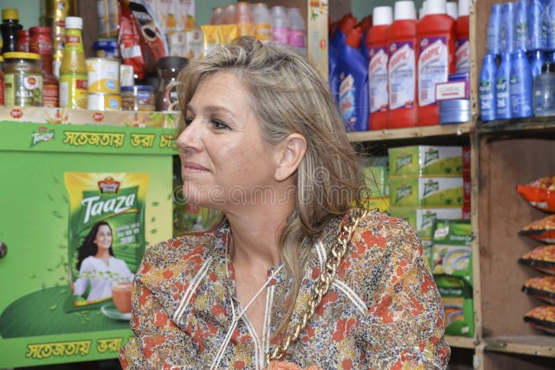 Die niederländischen Königin-Maxima: besuchtes ipay com BD-Speicher in Dhaka stockbilder