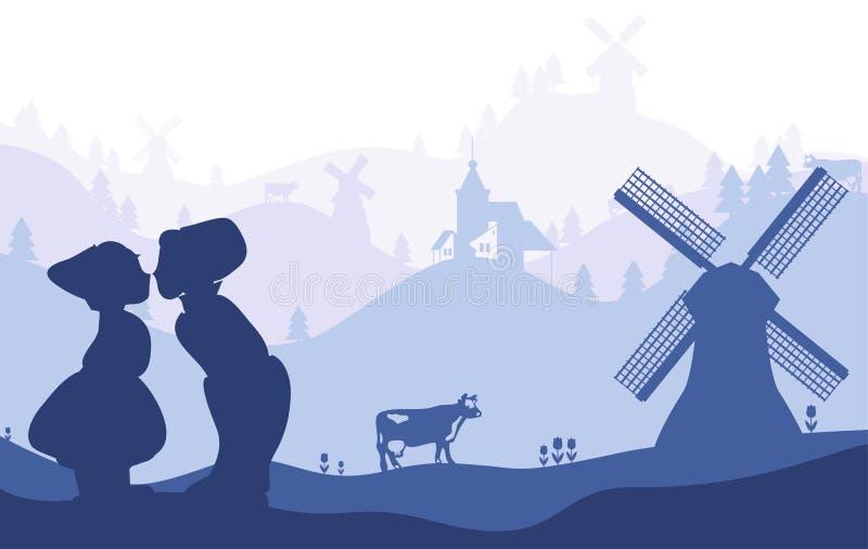 Die Niederlande, Holland Niederländische Schattenbilder der nationalen Sonderzeichen auf Landschaftsverblassendem Hintergrund lizenzfreie stockbilder