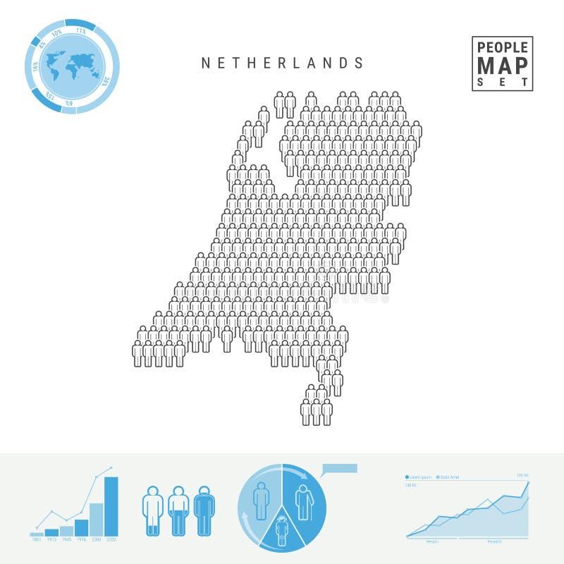 Die Niederlande-Leute-Ikonen-Karte Stilisiertes Vektor-Schattenbild von Holland Bevölkerungszuwachs und Altern Infographics lizenzfreie abbildung