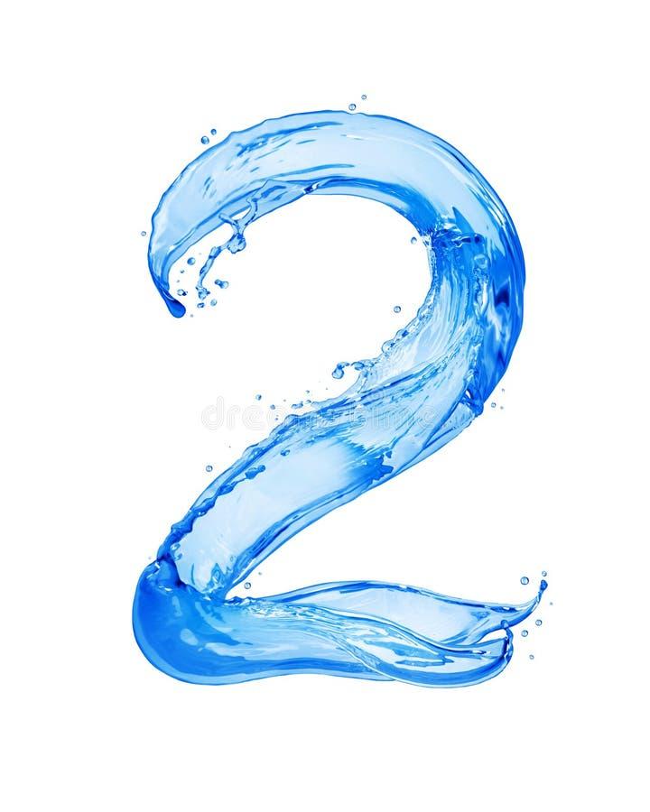 Die Nr. 2, die mit Wasser gemacht wird, spritzt, lokalisiert auf einem weißen Hintergrund stockfotografie