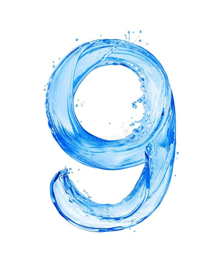 Die Nr. 9, die mit Wasser gemacht wird, spritzt, lokalisiert auf einem weißen Hintergrund lizenzfreies stockfoto