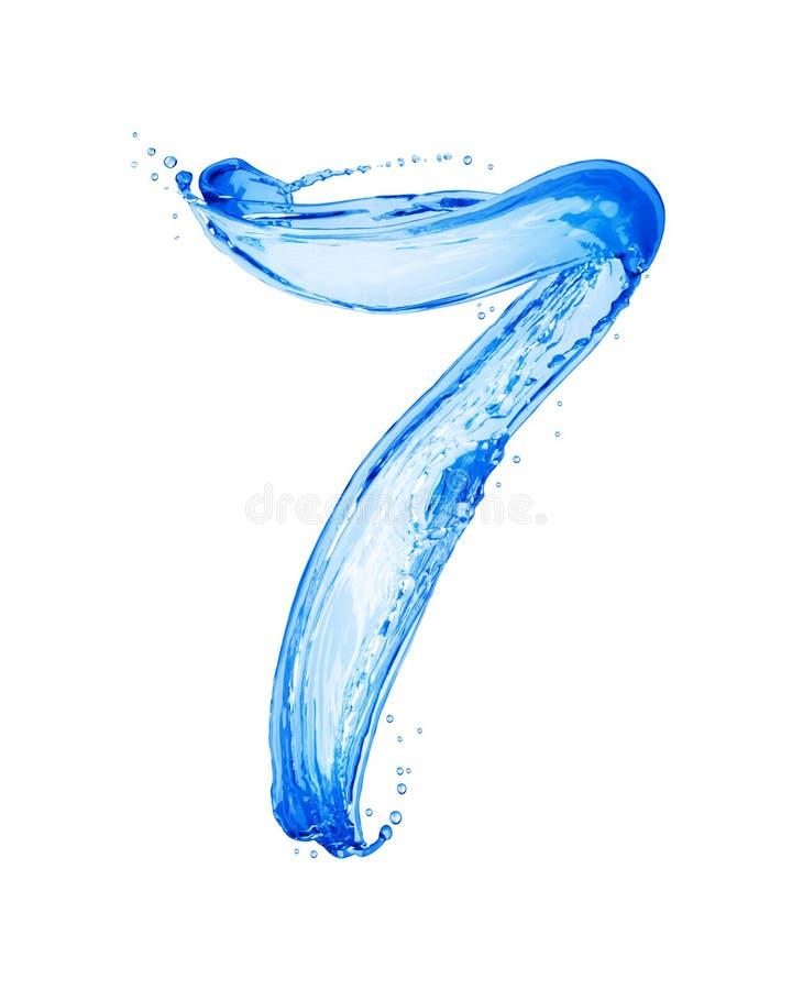 Die Nr. 7, die mit Wasser gemacht wird, spritzt, lokalisiert auf einem weißen Hintergrund lizenzfreie stockbilder