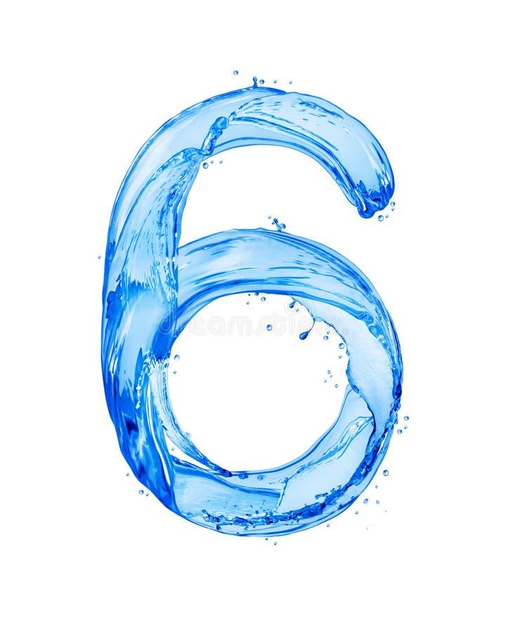 Die Nr. 6, die mit Wasser gemacht wird, spritzt, lokalisiert auf einem weißen Hintergrund stockfoto