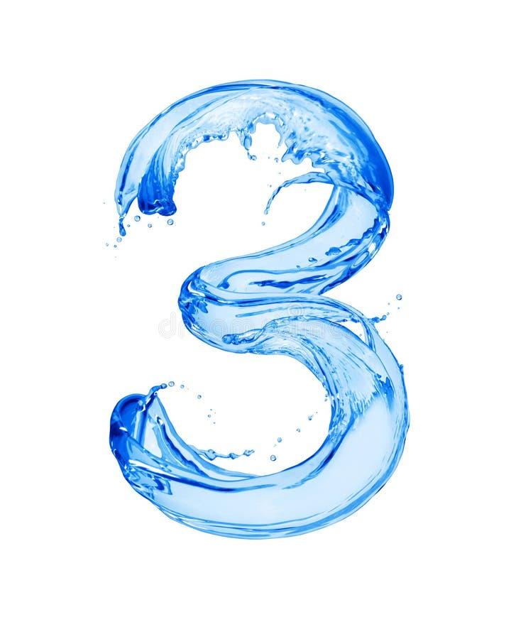 Die Nr. 3, die mit Wasser gemacht wird, spritzt, lokalisiert auf einem weißen Hintergrund stockfotografie