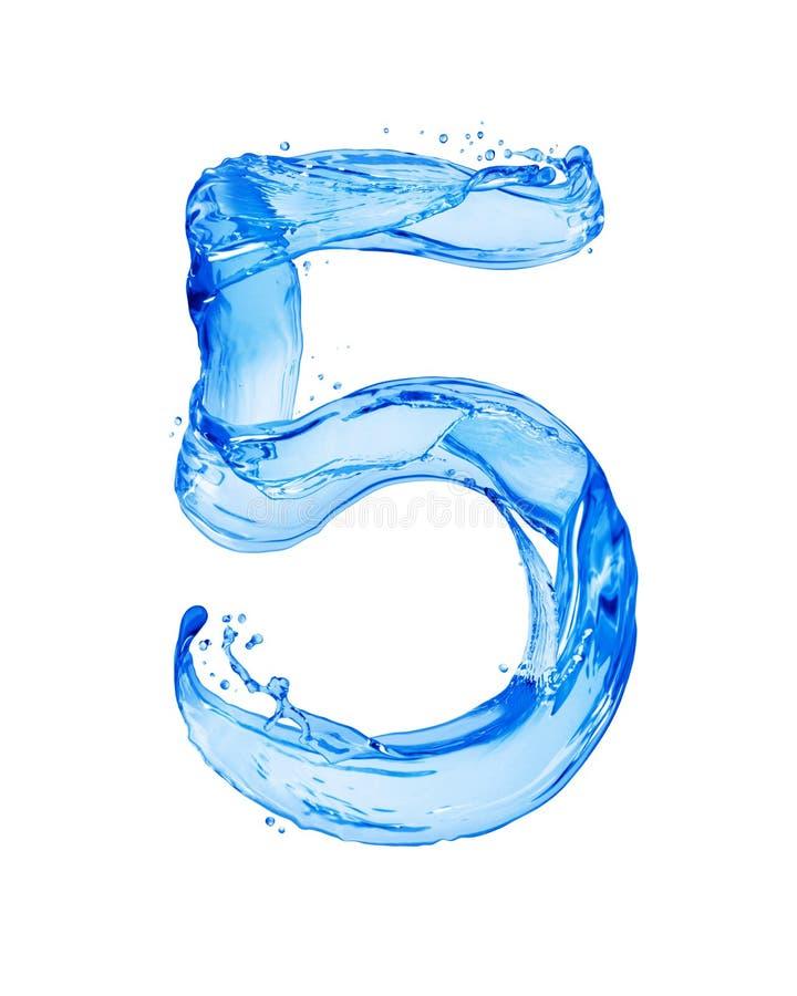 Die Nr. 5, die mit Wasser gemacht wird, spritzt, lokalisiert auf einem weißen Hintergrund lizenzfreie stockfotografie