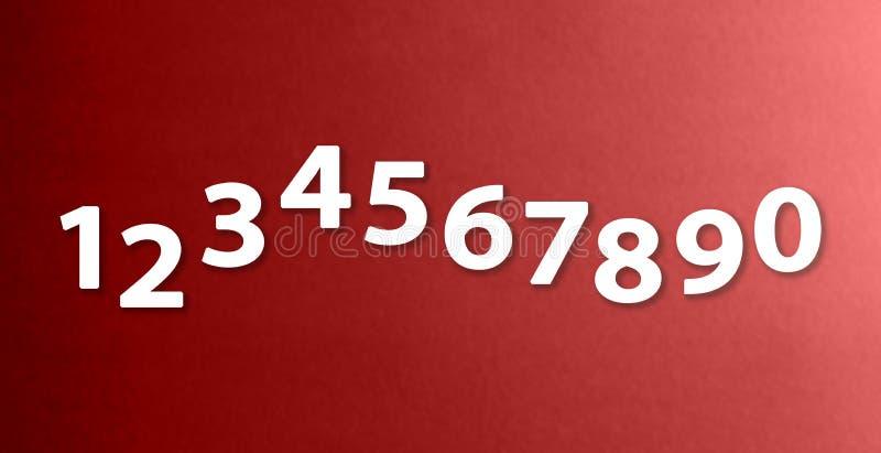 Die Nr. null bis neun auf verschiedenen Farbpapierhintergründen lizenzfreie abbildung