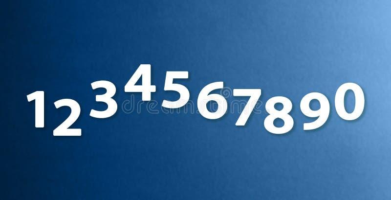 Die Nr. null bis neun auf verschiedenen Farbpapierhintergründen stock abbildung