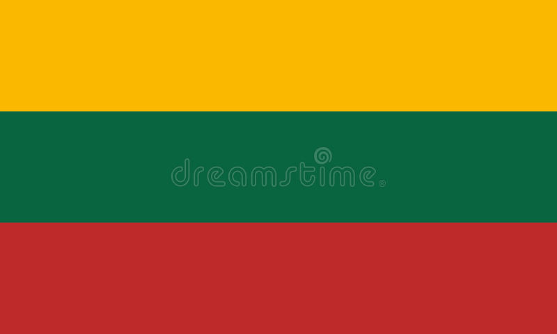 Die offizielle Flagge von Litauen lizenzfreies stockbild