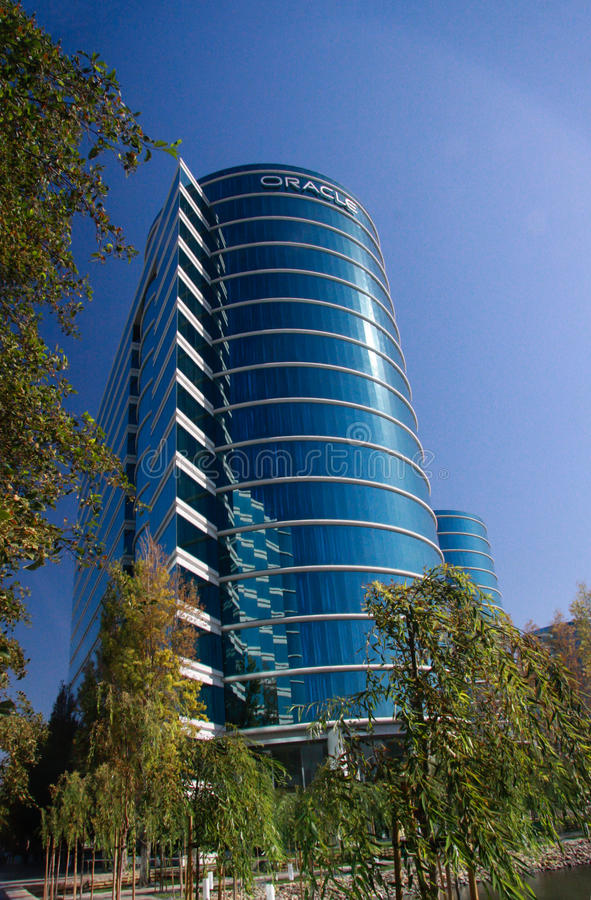 Die Oracle-Hauptsitze gelegen in Redwood City stockbilder
