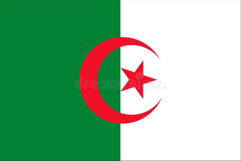 Die Originalflagge Algeriens,Vector Illustration Die Farbe des Originals, der Amtsfarben und des Proportion korrekt, isolieren, stock abbildung