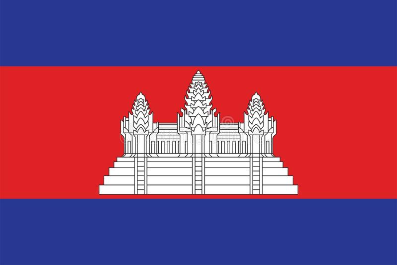 Die Originalflagge Kambodschas,Vector illustriert die Farbe des Original, der offiziellen Farben und der Proportion korrekt, isol vektor abbildung