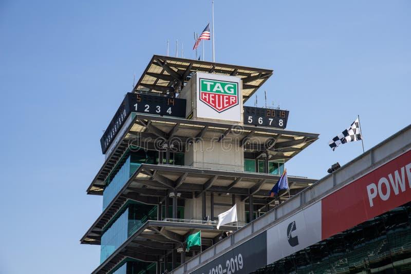 Die Pagode in Indianapolis Motor Speedway IMS bereitet für den Indy 500 VIII vor lizenzfreies stockbild
