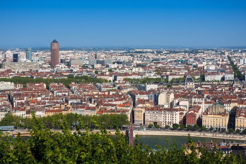 Die panoramische Vogelperspektive in Lyon, Frankreich stockfoto