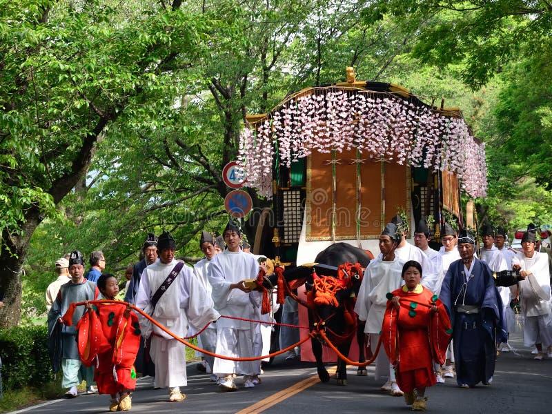 Die Parade von Festival Kyotos Aoi, Japan lizenzfreies stockfoto