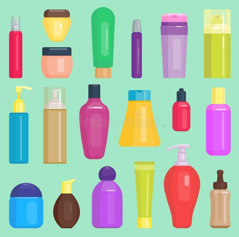 Die Parfume-Kosmetikvektor-Flaschenreinigung, die Hausarbeit aufräumt, füllt Satzschablonenchemikalienschönheits-Modeflüssigkeit  vektor abbildung