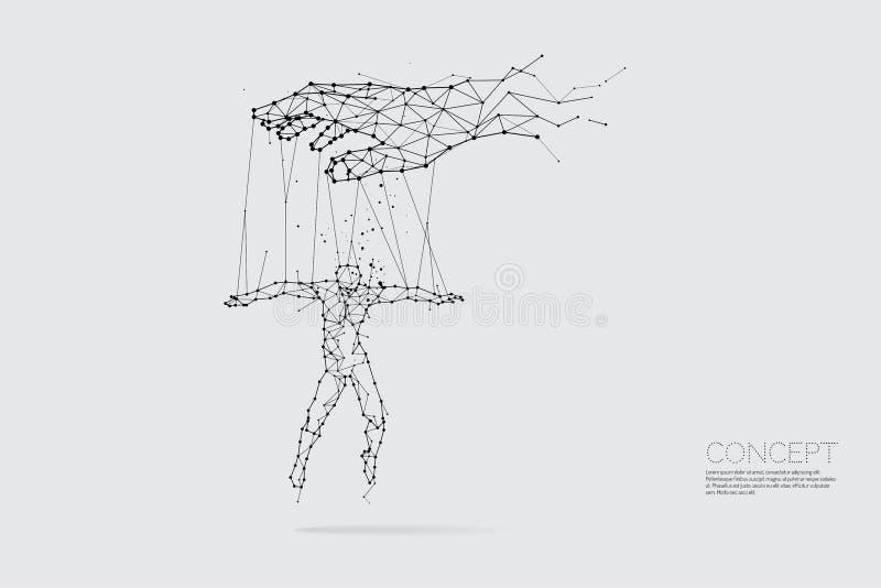 Die Partikel, die geometrische Kunst, die Linie und der Punkt der Hand h steuernd lizenzfreie abbildung