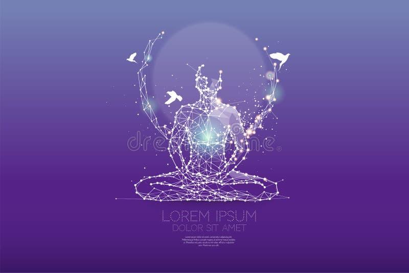 Die Partikel, polygonale, geometrische Kunst - Meditation vektor abbildung