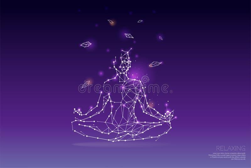 Die Partikel, polygonale, geometrische Kunst - Yoga lizenzfreie abbildung