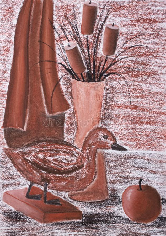 Die Pastellzeichnung 'Stillleben der Kinder mit einer angefüllten Ente ' lizenzfreie abbildung