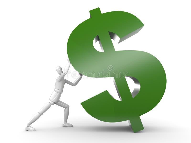 Die Person holt oben Dollarzeichen lizenzfreie abbildung