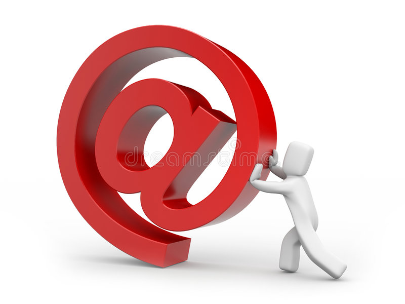 Die Person holt oben ein eMail-Zeichen stock abbildung