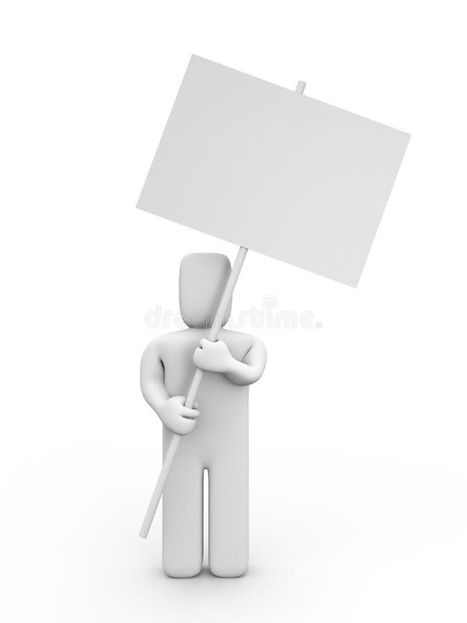Die Person mit dem Plakat stock abbildung