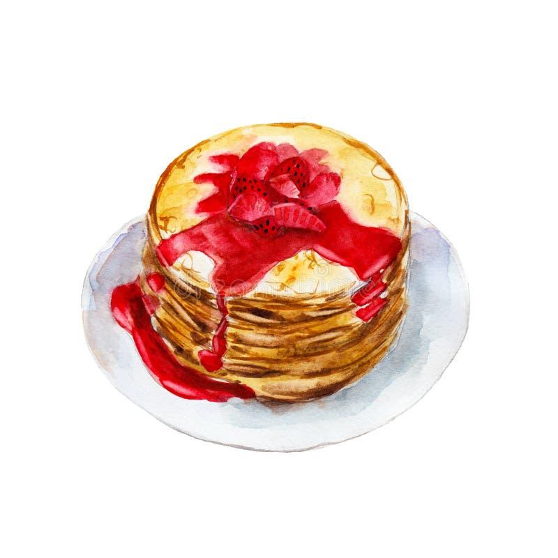Die Pfannkuchen mit dem Erbeersirup lokalisiert auf weißem Hintergrund, Aquarellillustration vektor abbildung