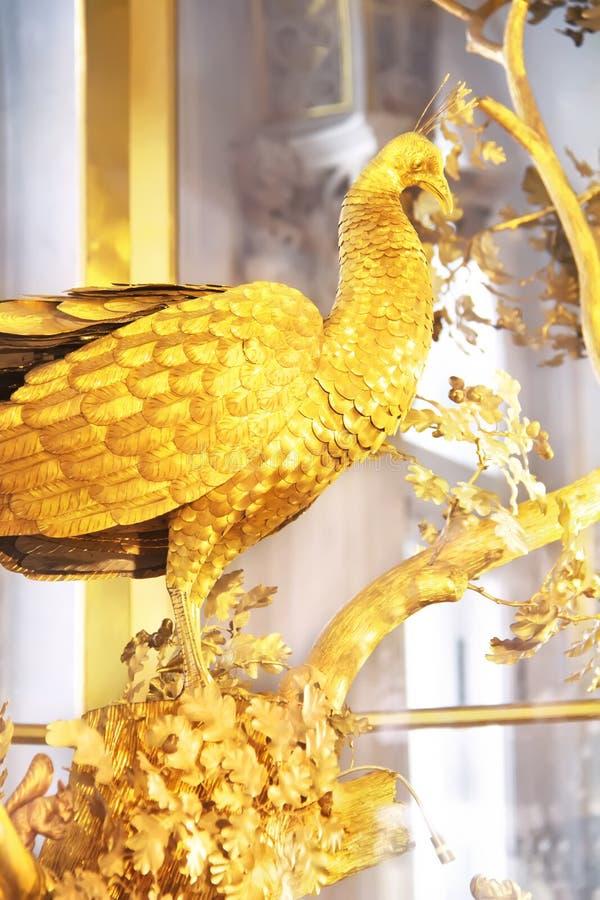 Die Pfau-Uhr Das Zustands-Einsiedlerei-Museum St Petersburg, Russland lizenzfreie stockfotografie