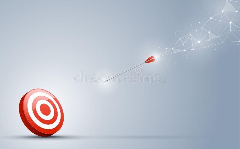 Die Pfeilspitzen zur Zielmitte Punkte und Verbindungslinien auf einem Hintergrund Die Verbindung auf dem Geschäftskonzept vektor abbildung
