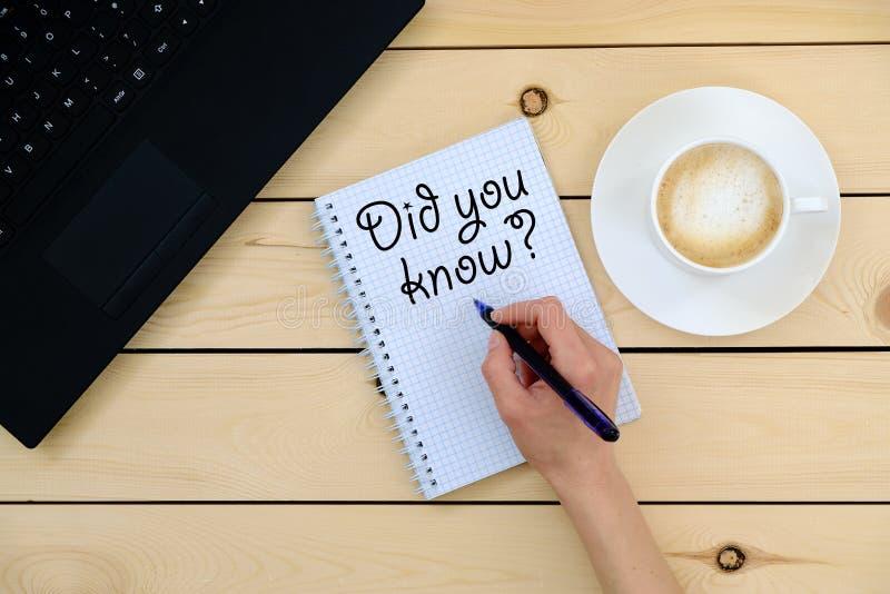 Die Phrase - wussten Sie? lizenzfreie stockfotos