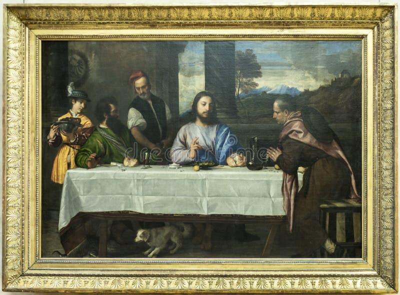 Die Pilger bei Emmaus Titian Vechellio Luftschlitz lizenzfreie stockbilder
