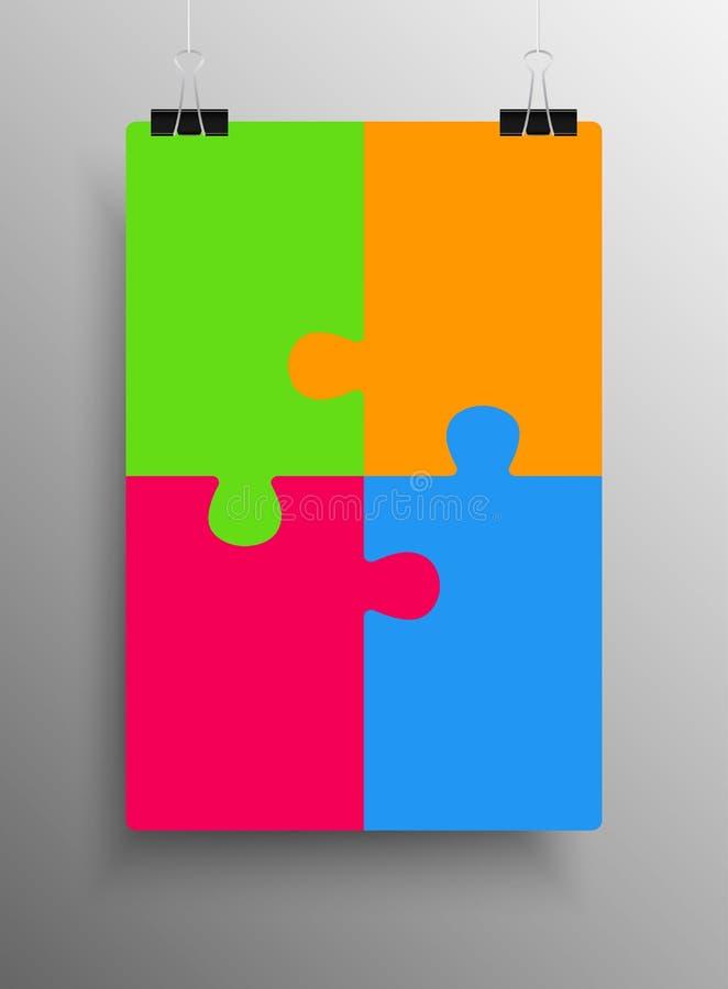 Die Plakat-Fahne vier Stücke verwirren Infographic stock abbildung