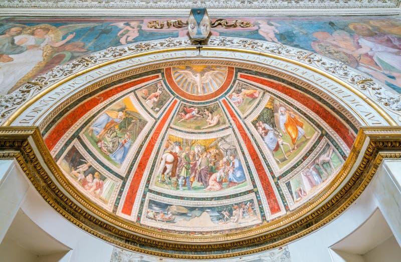 Die Ponzetti-Kapelle durch Baldassarre Peruzzi in der Kirche von Santa Maria della Pace in Rom, Italien lizenzfreie stockfotos