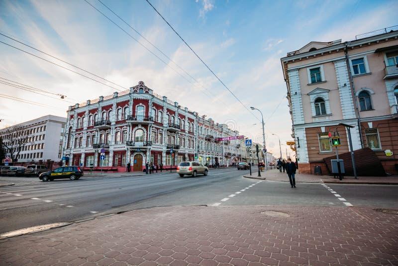 Die Post in Gomel an den Kreuzungen Gomel, Weißrussland lizenzfreie stockfotos